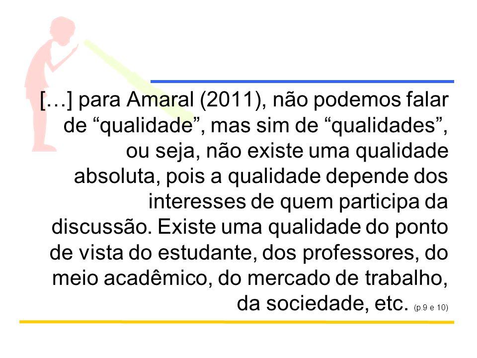 […] para Amaral (2011), não podemos falar de qualidade , mas sim de qualidades , ou seja, não existe uma qualidade absoluta, pois a qualidade depende dos interesses de quem participa da discussão.
